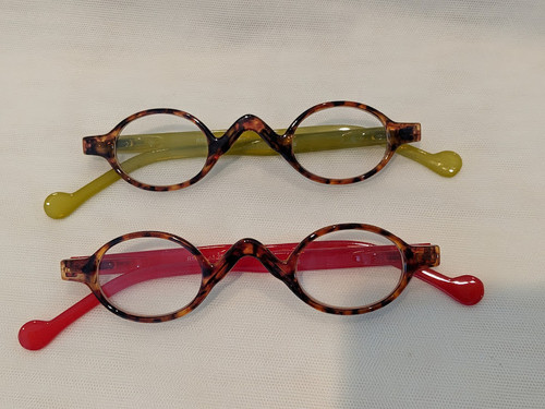Small oval retro reading glasses (2) for $19.95 Red/Olive
