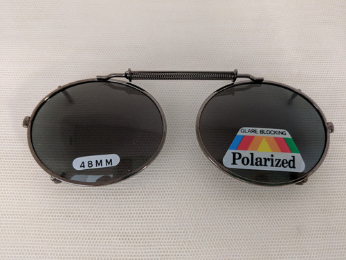 Small Oval polarized clip on 48mm PEWTER/GUNMETAL