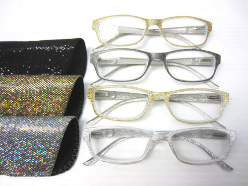 Glitzy high power plastic reading glasses for women