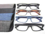 Frankie plastic/denim half frame unisex readers (1.25 to 3.00 Powers)