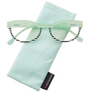 Macaron cats eye frame mint-black low power reader .75