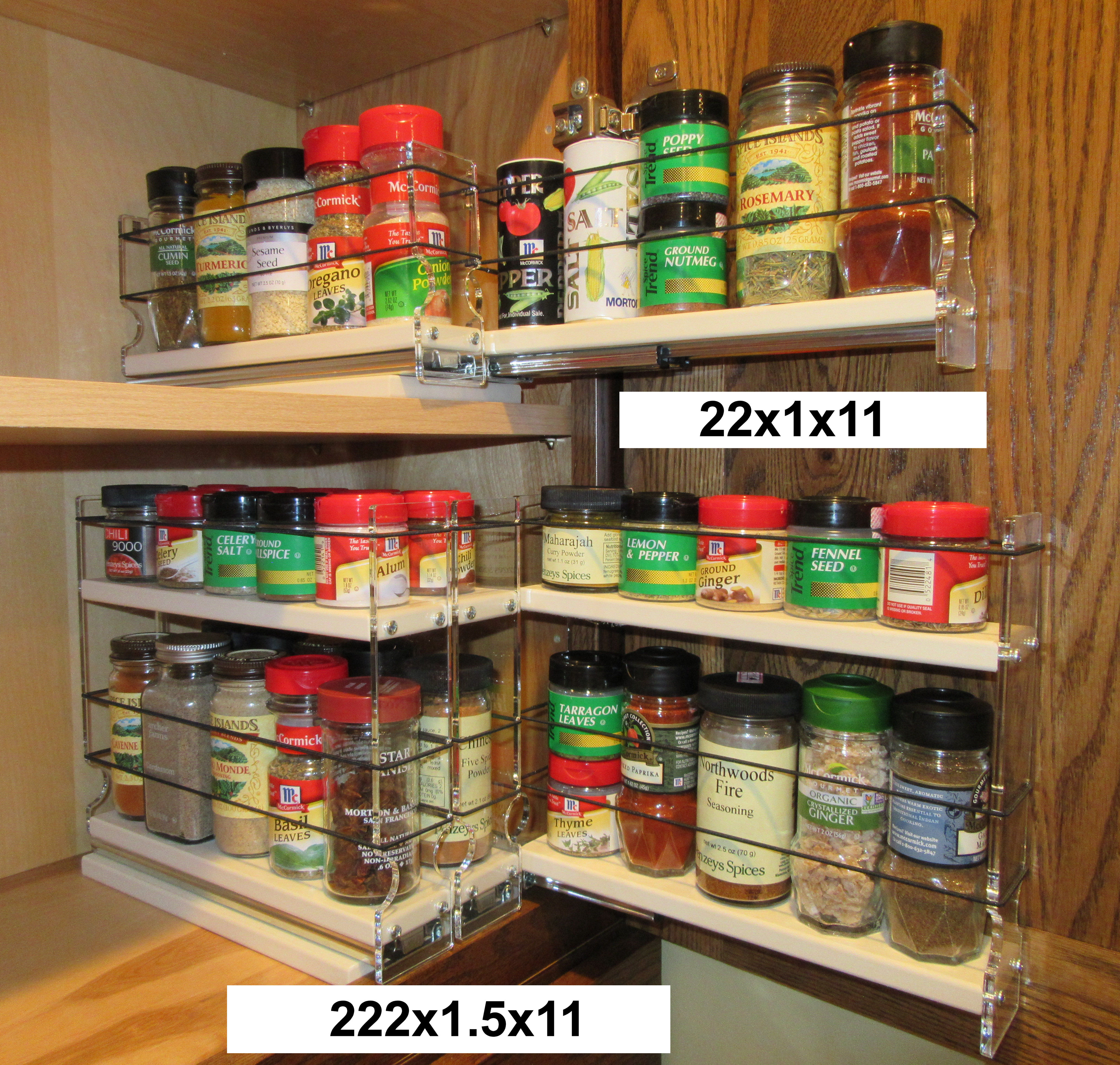 Two cabinet shelves organized with Spice Racks