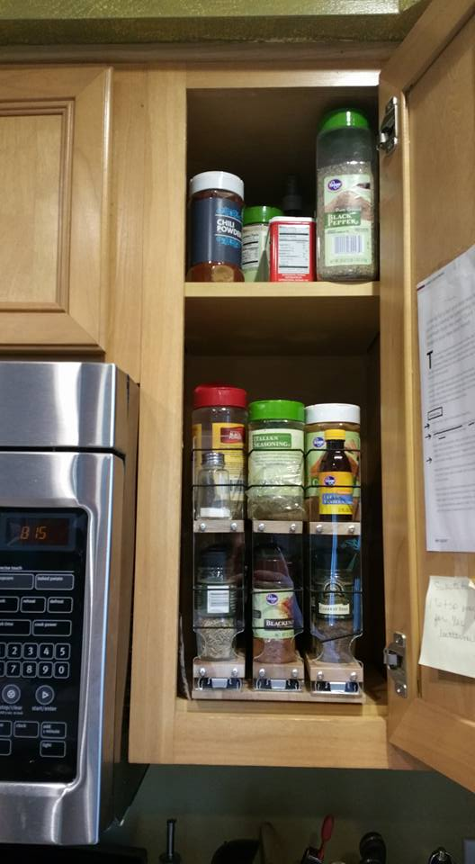 Spice Racks Next to Microwave