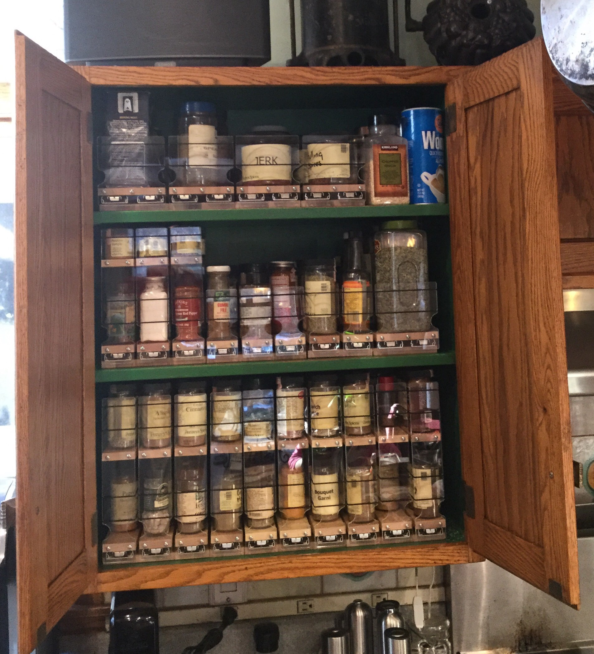 Cabinet Organization with Spice Racks