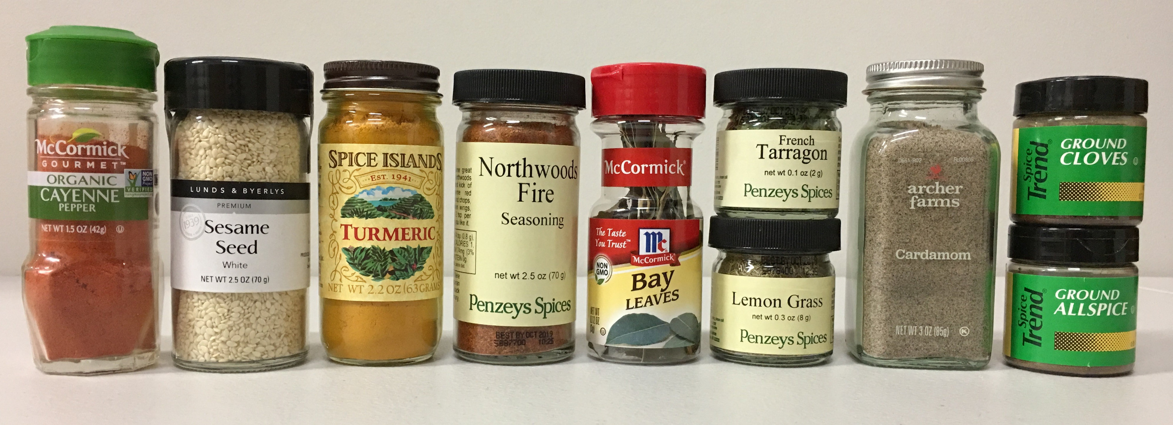 Variety of Standard Spice Jars