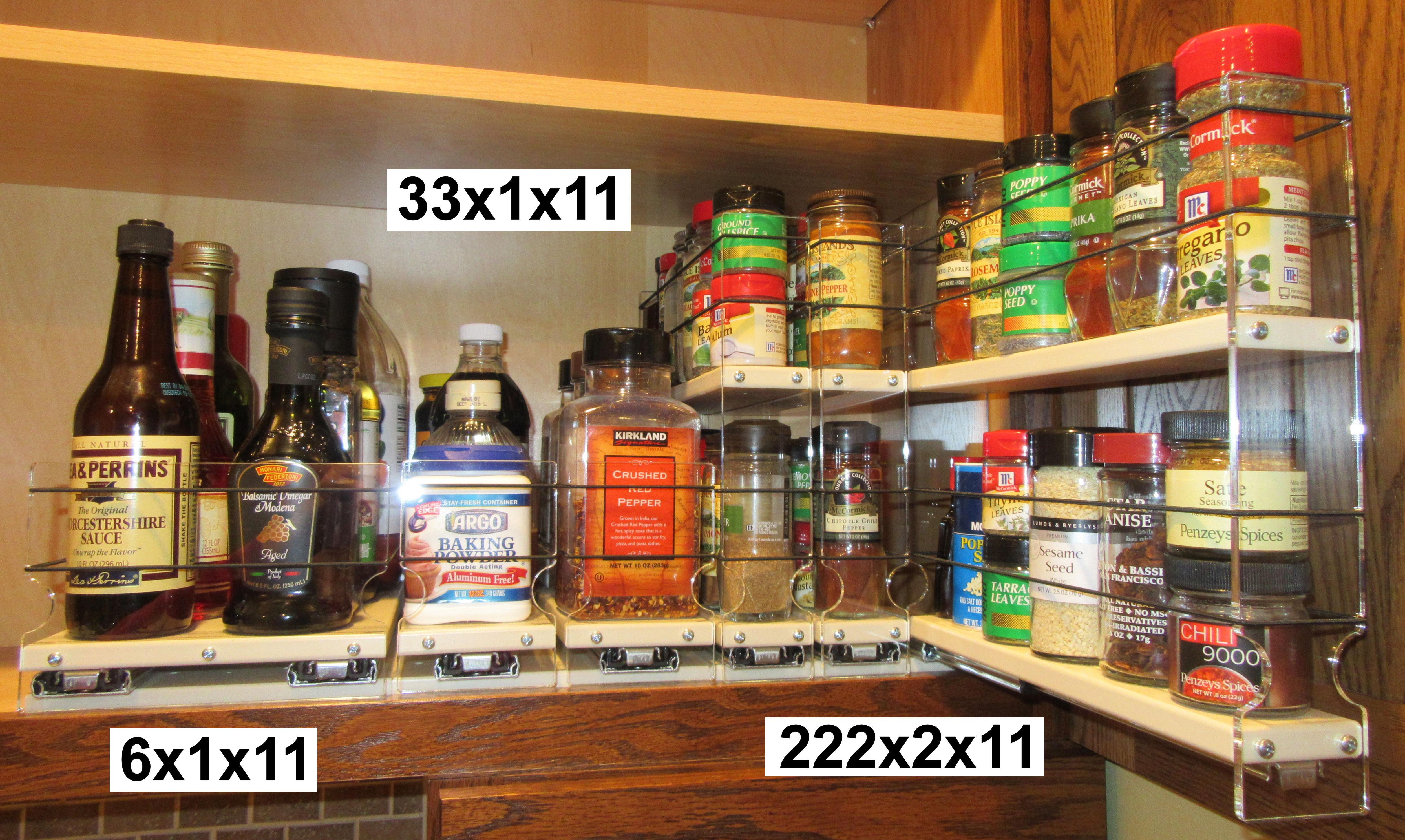 3 Spice Racks in Cabinet