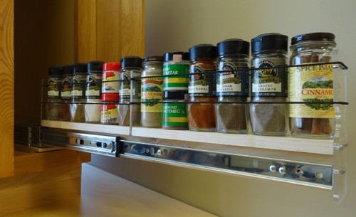 """2x1x22 Spice Rack Drawer - Maple, Extended, Full Unit: 2.3"""" wide x 6.52"""" tall x 22"""" depth Drawers: (1) 2 sections each 2.1"""" wide x 10.7"""" long"""