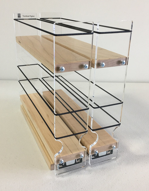 "Spice Rack 22 x 1.5 x 11, Maple Unit: 4.6"" wide x 9.25"" tall x 10.6"" depth Drawers: (2) 2.1"" wide x 10.05"" long"