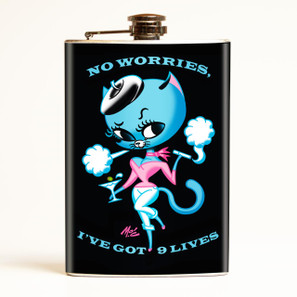No Worries I've Got 9 Lives Flask -