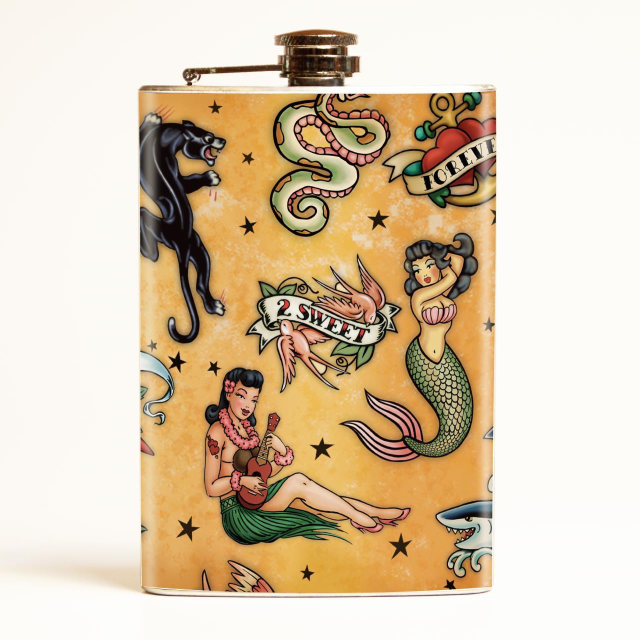 Old School Tattoo Flask -