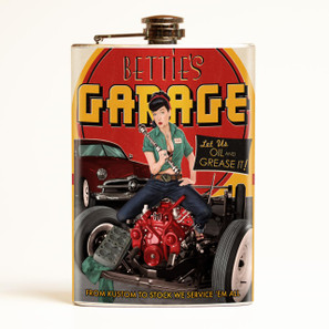 Bettie Page Bettie's Garage Flask -