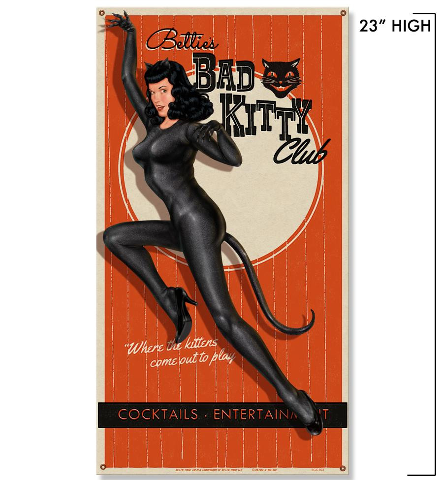 Bettie Page Bad Kitty Metal Sign -