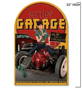 Bettie Page Bettie's Garage Metal Sign -