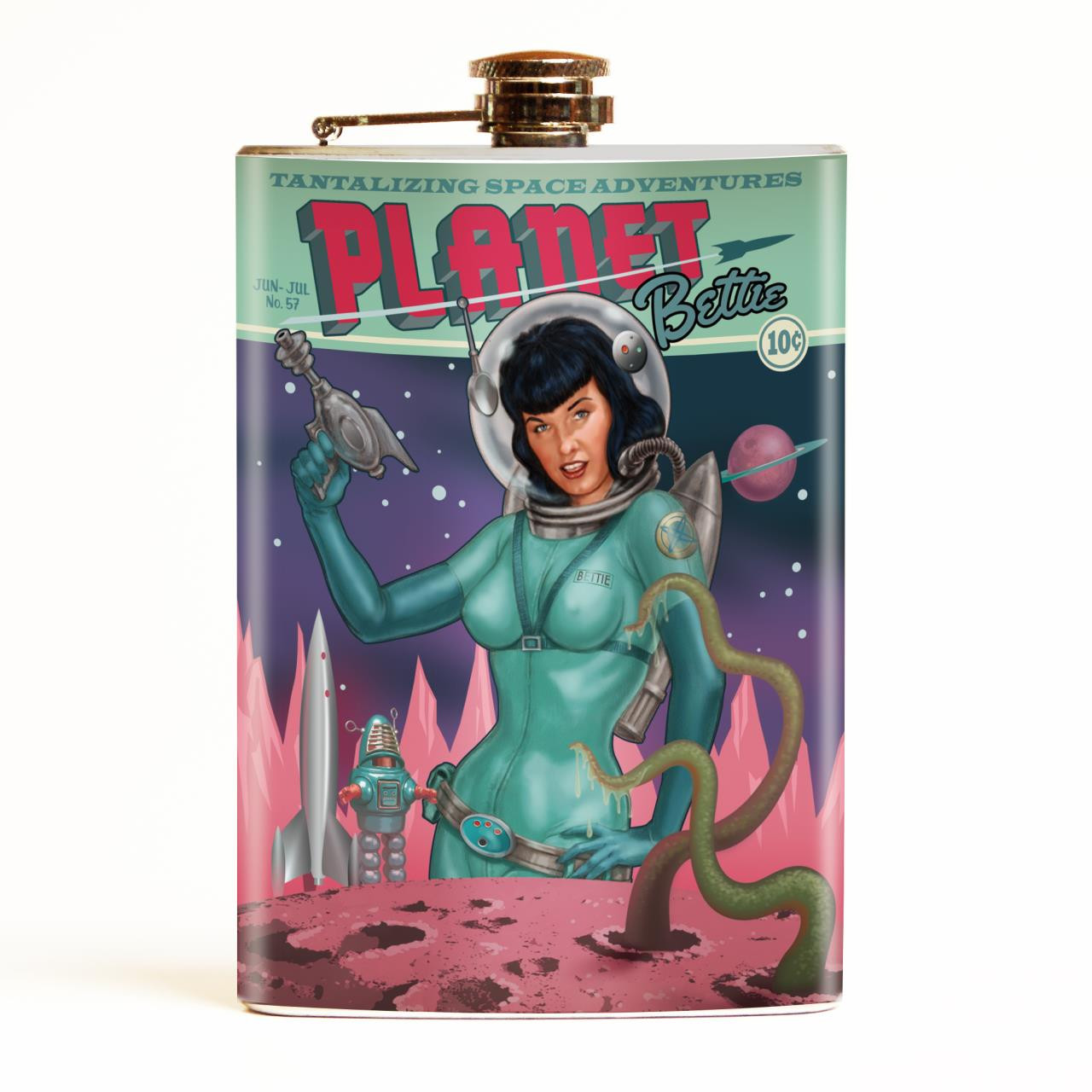 Bettie Page Planet Bettie Flask-OUT OF STOCK -