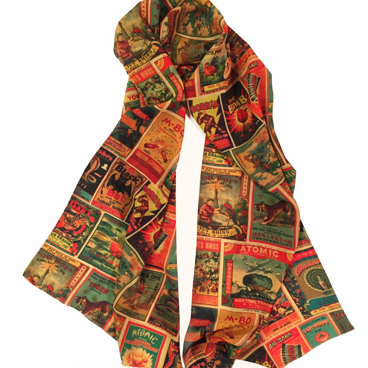 Vintage Firework Labels Fashion Scarf* -