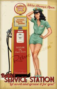 Bettie Page Service Station Print* - 0659682806907