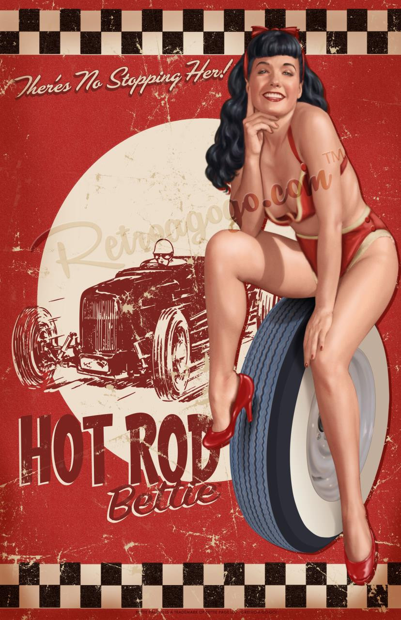 Bettie Page Hot Rod Print* - 0659682806839