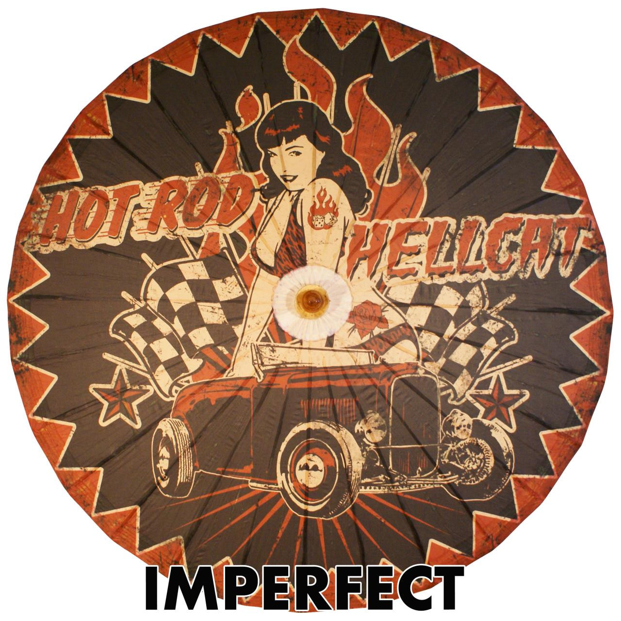 Imperfect Bettie Page Hot Rod Hellcat Parasol -