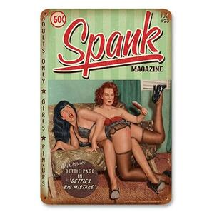 Bettie Page Spank Metal Sign -