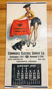 1955 Commerce Electric Supply Pinup Calendar -