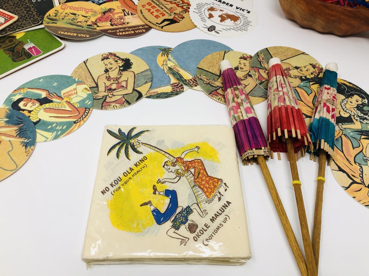 Assortment Of Hawaiian And Tiki Themed Barware & Accessories -