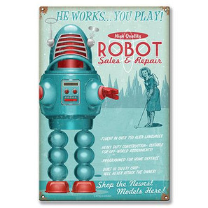 Robot Metal Sign -