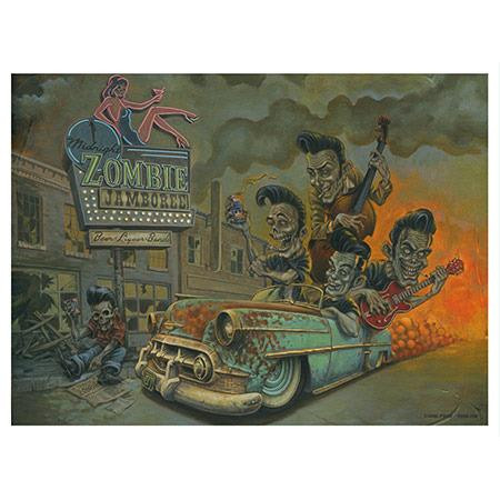 4 GHOULS IN SEARCH OF GIG PRINT SIGNED DOUG P/'GOSH