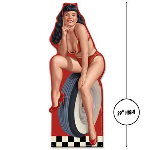 Bettie Page Hot Rod Bettie Metal Sign - Large -