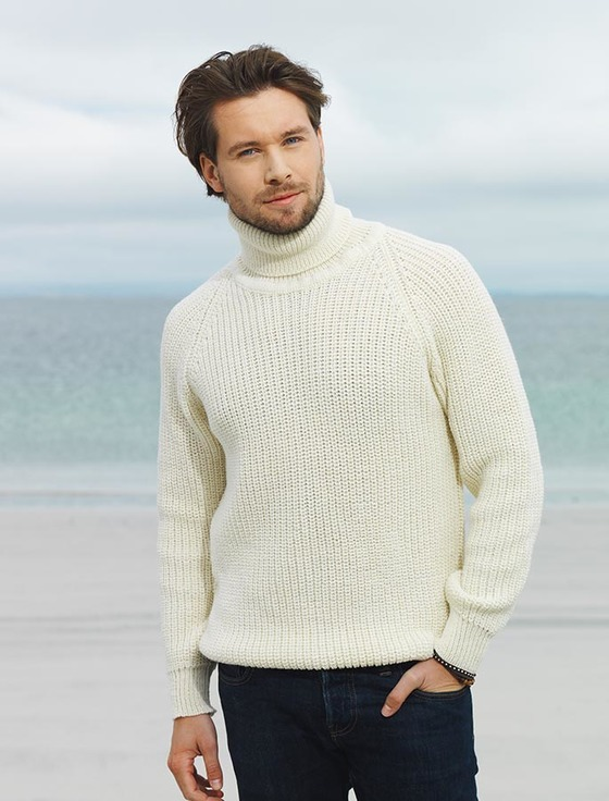 aaf71a97f930 Fisherman s Merino Ribbed Turtleneck Sweater - White