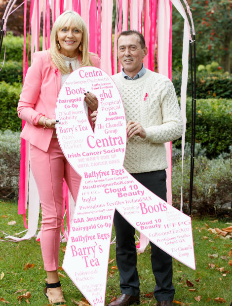 Our Dublin Manager Paul with Irish TV Personality Miriam O'Callaghan at the Press Launch of Breast Cancer Awareness Month