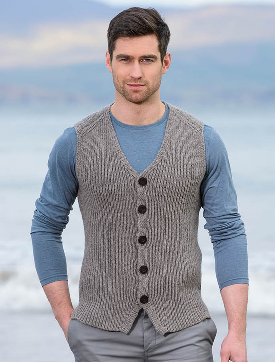 Men's Sweater Vest with Buttons - Stone