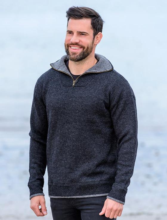 Mens Half Zip Wool Sweater - Charcoal