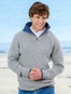 Mens Half Zip Irish Wool Sweater - Grey Smoke