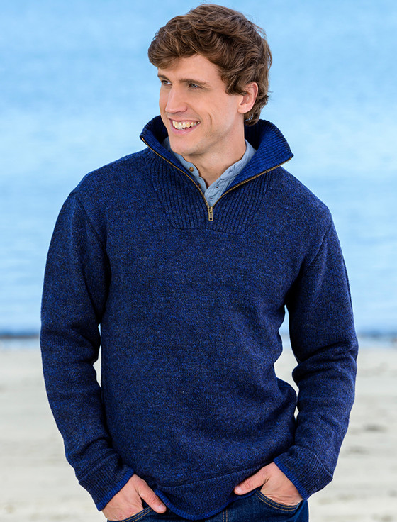 Mens Half Zip Irish Wool Sweater - Navy
