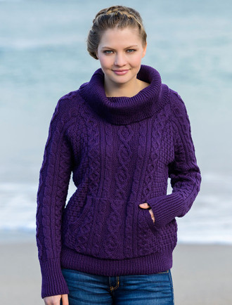 Cowl Neck Sweater with Pockets - Purple
