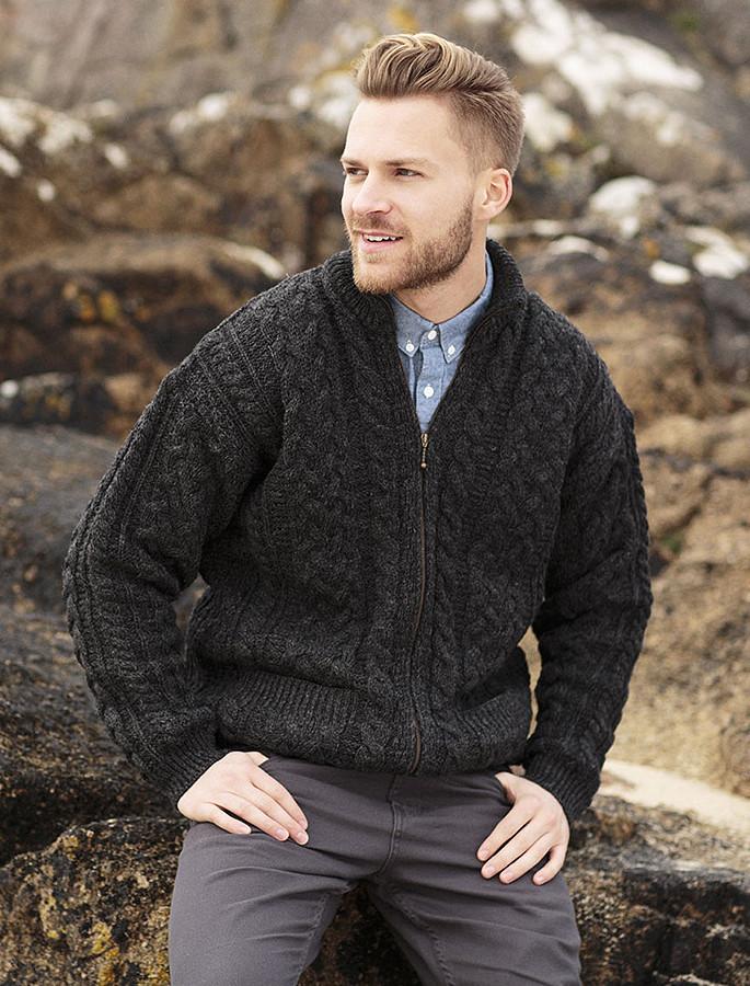 Men's Aran Zip Cable Knit Cardigan