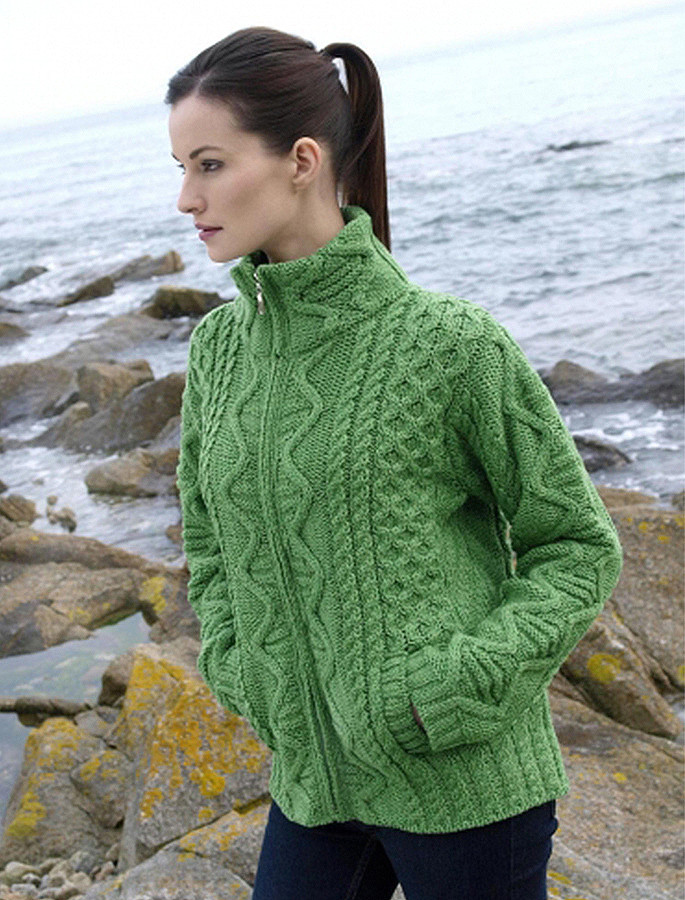 cbd126a58d Aran Cardigan, Zip Up Cardigan Women | Irish Cardigan