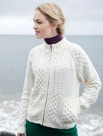 Women's Handknit Cropped Patchwork Cardigan - Winter White