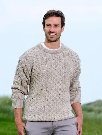Mens Heavyweight Traditional Aran Wool Sweater