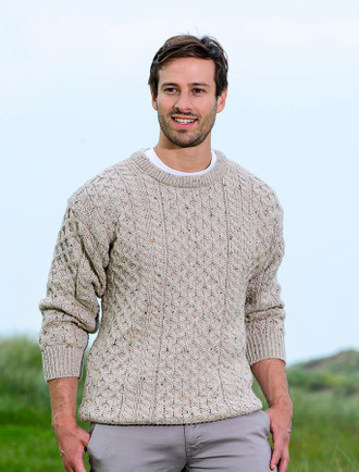 Mens Heavyweight Traditional Aran Wool Sweater - Skiddaw