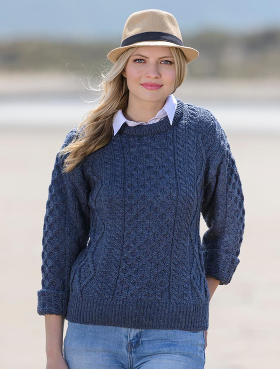 Lightweight Traditional Aran Wool Sweater - Caspian