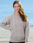 Lightweight Traditional Aran Womens Wool Sweater - Skiddaw