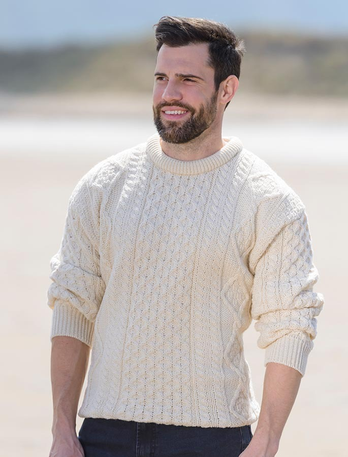Lightweight Traditional Aran Mens Wool Sweater , White