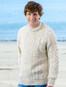 Lightweight Traditional Aran Mens Wool Sweater - White Fleck