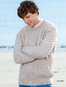 Lightweight Traditional Aran Mens Wool Sweater - Skiddaw