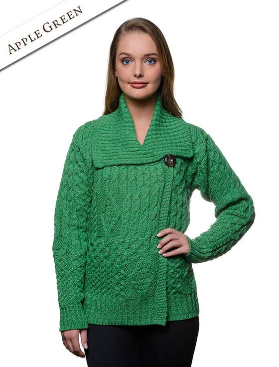 Aran Single Button Merino Cardigan - Apple Green