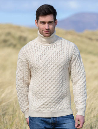 Mens Wool Turtleneck Sweater - Natural White