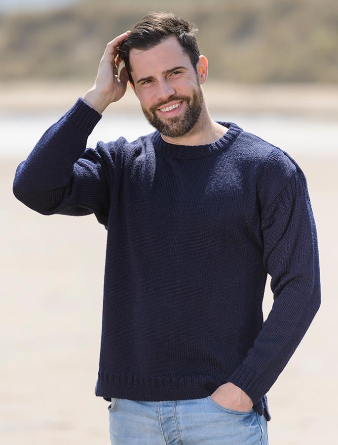 1c11513073f Mens Crew Neck Guernsey Sweater