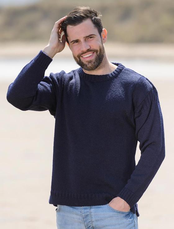 Mens Crew Neck Guernsey Sweater - Navy
