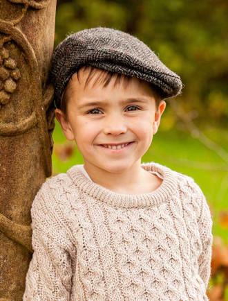 Children's Tweed Flat Cap - Silver